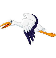 cartoon stork flying isolated on white background vector image
