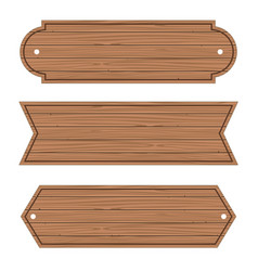 cartoon wood banners wooden planks set vector image