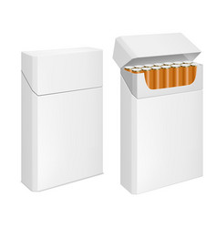 cigarettes pack realistic blank white box mockup vector image