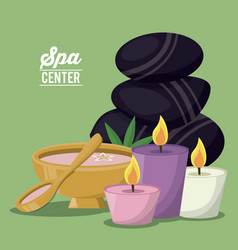 color poster of spa center with set of volcanic vector image