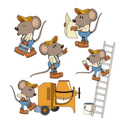 Construction mouse workers funny cartoon vector