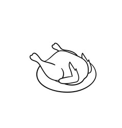 cooked chicken hand drawn sketch icon vector image