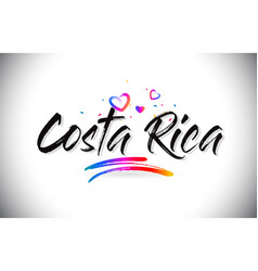 Costa rica welcome to word text with love hearts vector