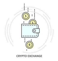 cryptocurrency exchange - crypto wallet icon and vector image