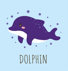 cute card with cartoon dolphin vector image
