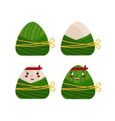Cute chinese folk triangular dumplings vector