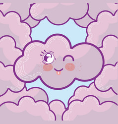 cute cloud cartoons vector image