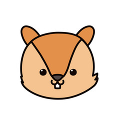 cute squirrel head cartoon icon vector image
