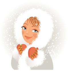 Cute young girl in a fur coat and mittens sweet vector image