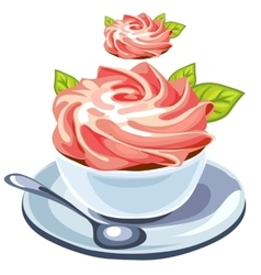 Delicious creamy dessert in plate with spoon vector