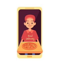 delivery man appearing from phone screen and vector image