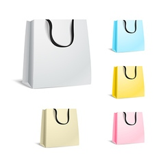 Different paper shopping bags isolated on white vector image