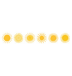 doodle sun icons vector image