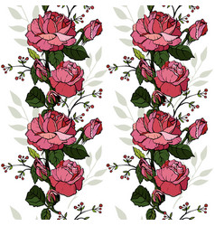 english roses seamless design greeting card vector image