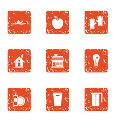 Environmental pollution icons set grunge style vector