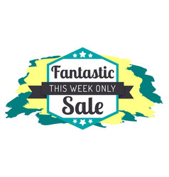 fantastic sale with brush strokes and stars label vector image