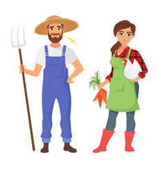 Farmers man and woman character vector