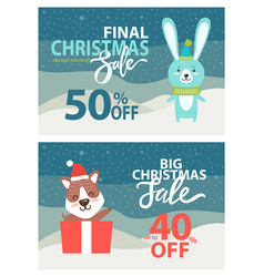 Final christmas sale placards vector
