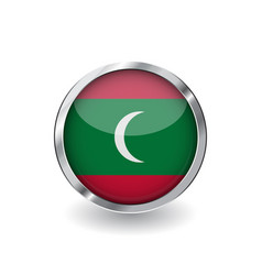 Flag of maldives button with metal frame and vector