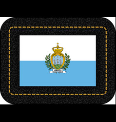 flag of san marino icon on black leather backdrop vector image