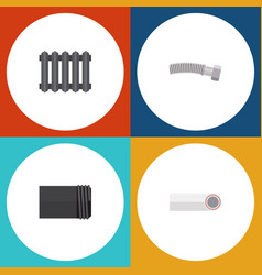flat icon plumbing set of drain tube heater and vector image