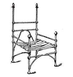 frame of medieval arm chair vintage vector image