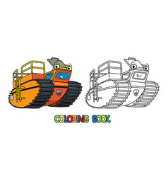 Funny rover car amphibious vehicle coloring book vector