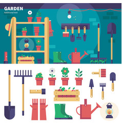 gardening equipment in the garage vector image