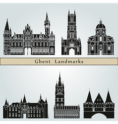 Ghent landmarks and monuments vector
