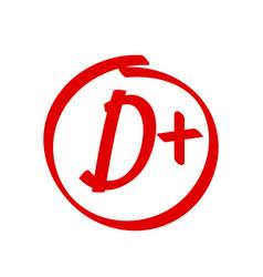 Grade d plus result icon school red mark vector