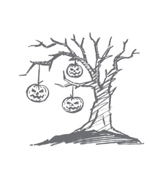 Hand drawn halloween pumpkin faces hanging on tree vector