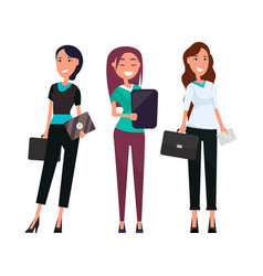Happy businesswomen stylish trousers and blouse vector