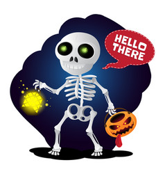 happy cartoon skeleton walking with lantern and vector image