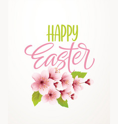 Happy easter handwriting lettering on background vector