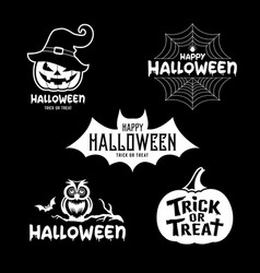 happy halloween party black and white design set vector image