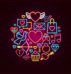 happy valentines day neon concept vector image