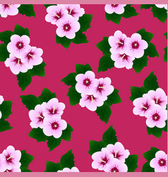 hibiscus syriacus - rose of sharon on pink vector image