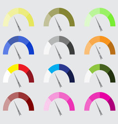 Indicator color set with pointer needle vector