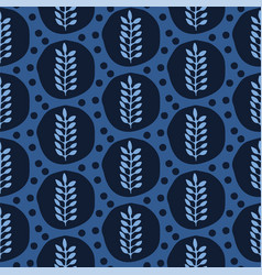 Indigo blue stylized ethnic leaf pattern folk art vector