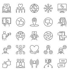 Influencer marketing outline icons set vector