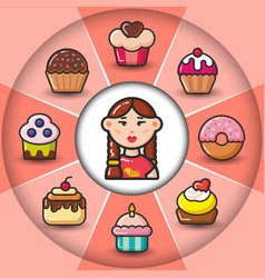 Infographic set of sweet icons and woman vector