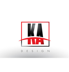 ka k a logo letters with red and black colors and vector image