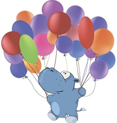 Little hippopotamus and multicolored balloons vector
