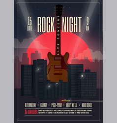 Live concert rock night poster vector