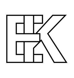 Logo sign ek and ke icon sign interlaced letters k vector