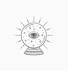 magic crystal ball future witch and symbol vector image
