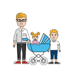 Man with glasses and his baby and son icon vector