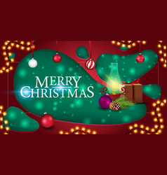 merry christmas postcard in paper cut style vector image