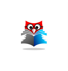 owl reading book logo vector image
