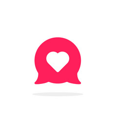 pink speech bubble with heart vector image